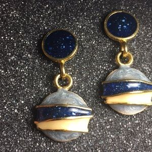 Vintage Navy blue and gold enamel earrings